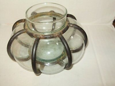 Antique/vintage Hand Blown Clear Glass And Iron Spanish Revival Candle Holder
