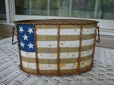 Vintage Americana Rusty Painted Metal Planter American Flag Garden Country Decor