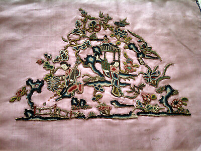 Antique Chinese Embroidery / Applique Panel