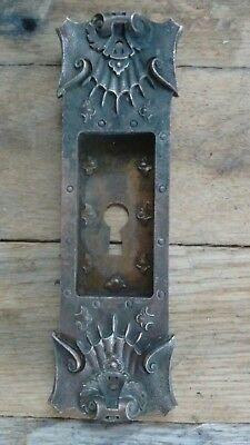 Antique Victorian Pocket Sliding Door Plate - Bronze Brass - Ideal - Art Nouveau