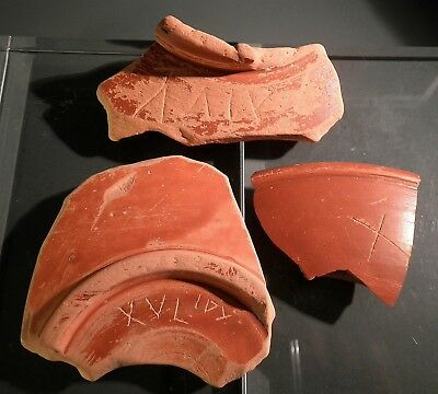SUPERB GROUP OF ANCIENT ROMAN TERRA SIGILLATA / SAMIAN FRAGMENTS w/ GRAFFITI