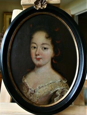 Strikingly Attractive  French Lady  Oil  Painting  Circa 1700.