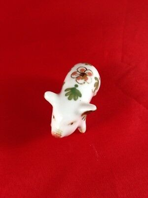 Pig with Pink Flower & Green Leaves Hand Painted Mini Pig Figurine Home Decor