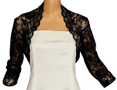 Black Lace 3/4 Sleeve Bolero Shrug Size 08