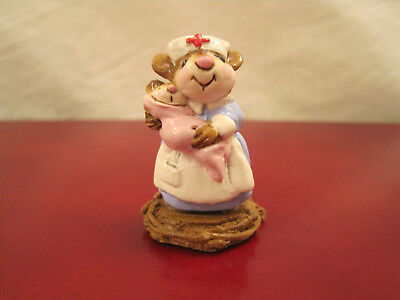 Wee Forest Folk M-54 NURSE MOUSEY w/pink baby Available 1981-1982
