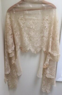 Stunning Vintage Antique French Lace Shawl