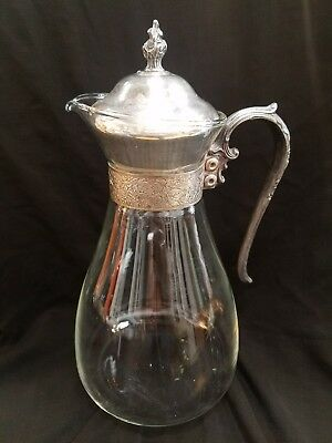 Glass and Silverplate Coffee Tea Pitcher