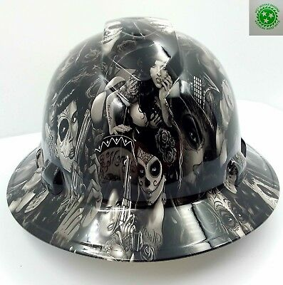 FULL BRIM Hard Hat custom hydro dipped , NEW TATTOO BABES HI DEF  NEW