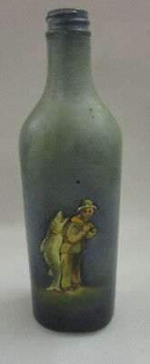 """Vintage hand painted bottle raised surface """"Fisherman and Catch"""""""
