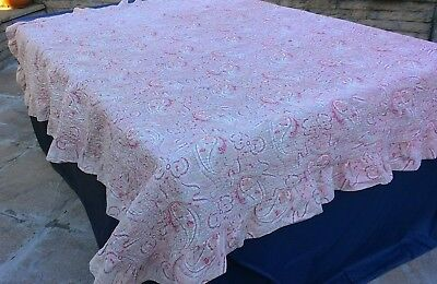 Antique? V intage Pink paisley print hand stitched quilt with frill edge 78 x 72
