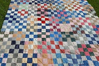 Vintage handmade quilt top farm decor rustic 9 patch Virginia hand stitched art