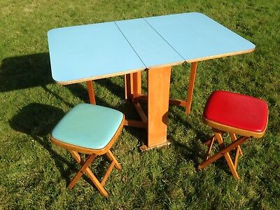 Vintage Kitchen Table / Drop Leaf Baby Blue Formica / Two Folding Stools