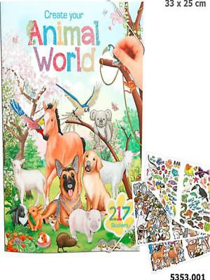 Depesche 5353_A - Create Your Animal World, Malbuch Mit Stickern, Neu