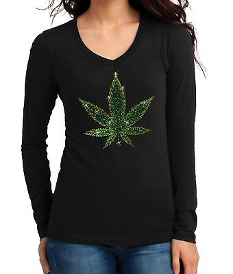 Juniors Baked Weed Leaf V358 Off-Shoulder T-Shirt Black
