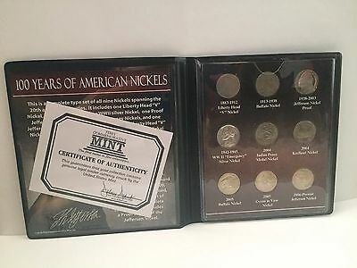 First Commemorative Mint 100 Years Of American Nickels Collection