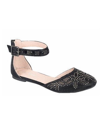 Girl's Black Studded Sandals with Ankle Strap Buckle