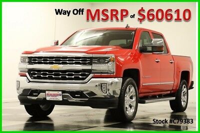 2017 Chevrolet Silverado 1500 MSRP$60610 4X4 LTZ GPS 6.2L Sunroof Red Crew 4WD New Navigation Heated Cooled Leather Camera 20 Inch Chrome Rims Wheels 16 17