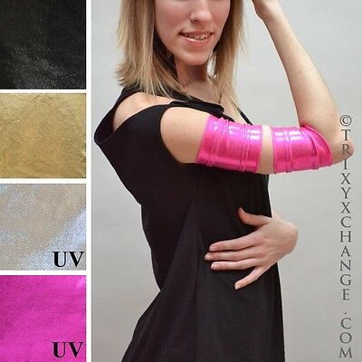 UV Reactive Short Pink Metallic Roller Derby Arm Bands Cybergoth Stretchy 1027
