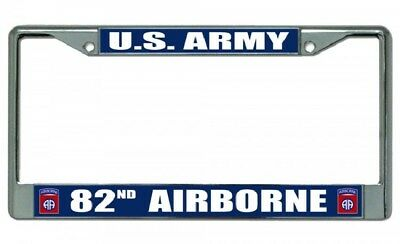 ARMY-AIRBORNE-Motorcycle License Plate Frame-Chromed Cast Metal-#821027B U.S