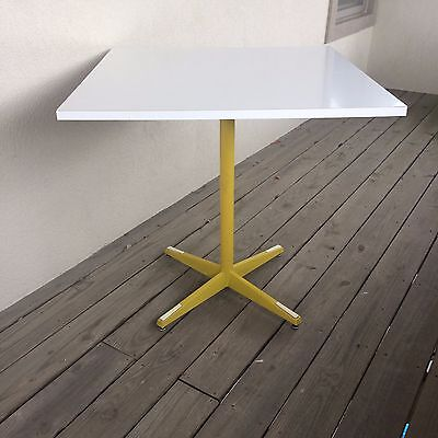 1972 Howell White Table with Yellow Legs Vintage Retro Mid Century