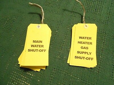 Shut off tags /Indicator tags/ water & water heater gas supply day-glow lime