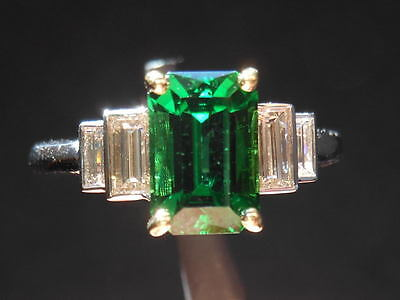 Precision Cut 1.70ct Chrome Tourmaline Five Stone Ring R4182 Diamonds by Lauren