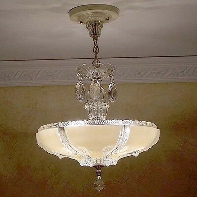 747 STUNNING arT Deco Vintage Ceiling Lamp Fixture Glass Chandelier 3 Lights