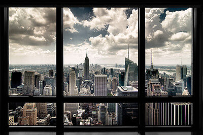 New York Window 24X36 Poster Nyc View Wall Art Manhattan City Skyscrapers Skies!