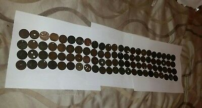 Us large cent coin lot, 92 Coins, Culls, holed  Lot # 7