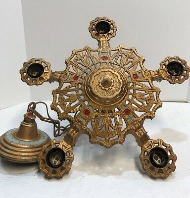 ANTIQUE CHANDELIER CAST METAL ART DECO Ceiling 5 Light Fixture