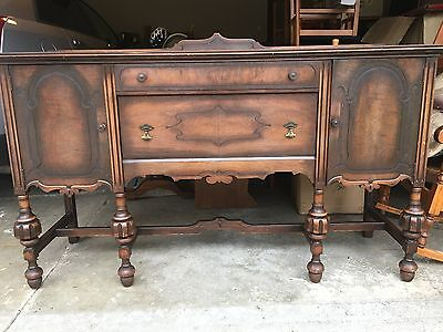 Antique Jacobean style oak Buffet Side-table. Orig finish & hardware VG cndt'n