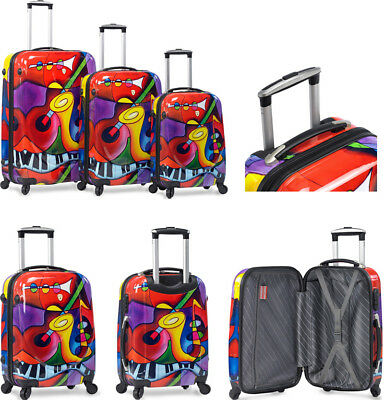 Dejuno 3 Piece Light Weight Hard Shell Spinner Upright Luggage Set - Jazz