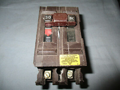 USED From working environment Wadsworth circuit Breaker 30 Amp 2 Pole 240 volt