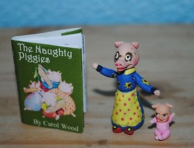 "Naughty Piggies Miniature readable book w 2 mini dolls for 10"" - 15"" DOLLS"