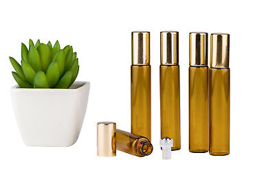 Glass Bottles*5 x 10ml*Amber*Metal Roller*Essential Oil*Refillable*Aromatherapy