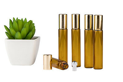 Glass Bottles*5x 10ml*Amber*Metal Roller*Essential Oil*Refillable*Aromatherapy