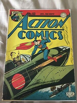 Rare 1943 Golden Age Action Comics #63 Cover Only Beautiful
