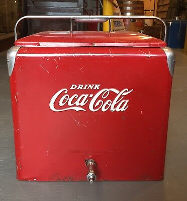 Vintage 1950's Drink COCA COLA Ice Chest Cooler Progress Refrigerator Co. Sign