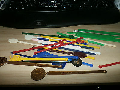 Mixed Lot of 30+ Vintage Swizzle Sticks USA  Plastic Clock of 5's +