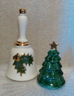 Two Christmas Bells Tree and Holly berries Vintage