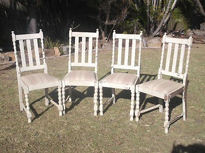 Vintage Antique Shabby Chic Cedar  Dining Chairs x 4