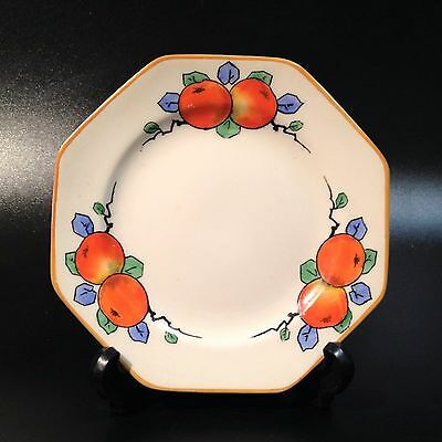 Art Deco Crown Ducal, England - 13.5cm Octagonal Side Plate - Orange Pattern