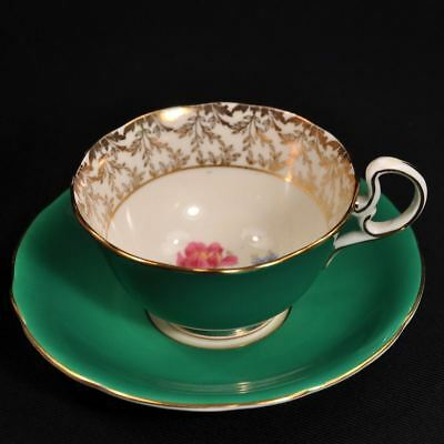 Aynsley Footed Cup & Saucer 1934-1939 Deep Green Floral Spray Gold Doris Handle