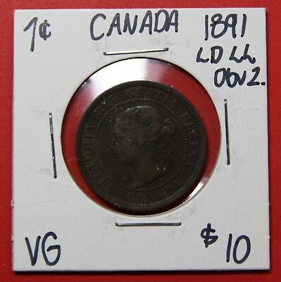 1891 LD LL Obv 2 Canada Large One Cent Penny Coin 7634 - $10 VG