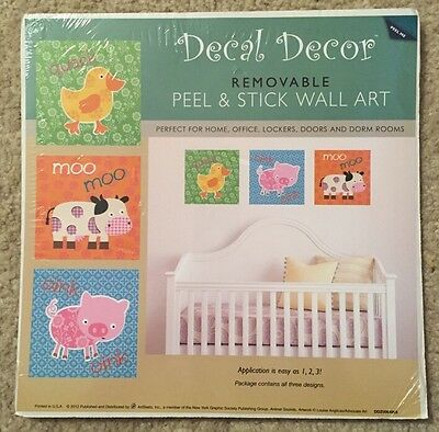 Lot Of 2 Artbeats Animal Peel & Stick Wall Art Nursery Kids Decor-DUCKS,COW,PIG!