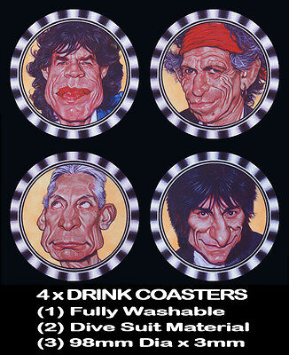 4  x THE ROLLING STONES, MICK JAGGER, KEITH RICHARDS - BEER DRINK COASTERS -