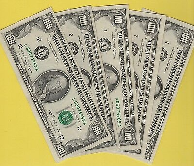 Federal Reserve Note One Hundred Dollar Bills..old Currency..small Heads..$100