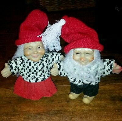 """5""""  Miniature Vinyl Dolls  Hand Painted w/Knitted Clothes"""
