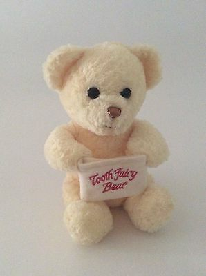 """PRINCESS SOFT TOYS yellow TOOTH FAIRY TEDDY BEAR W/ TOOTH POUCH 8"""" plush 2001"""