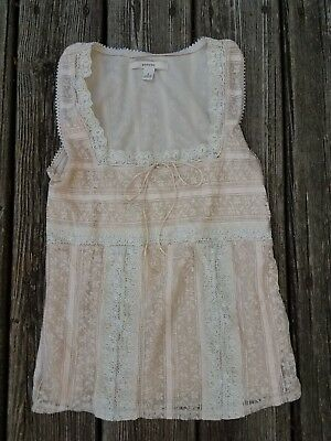 Women's Merona Vintage Style Cream Lace top, Size Small